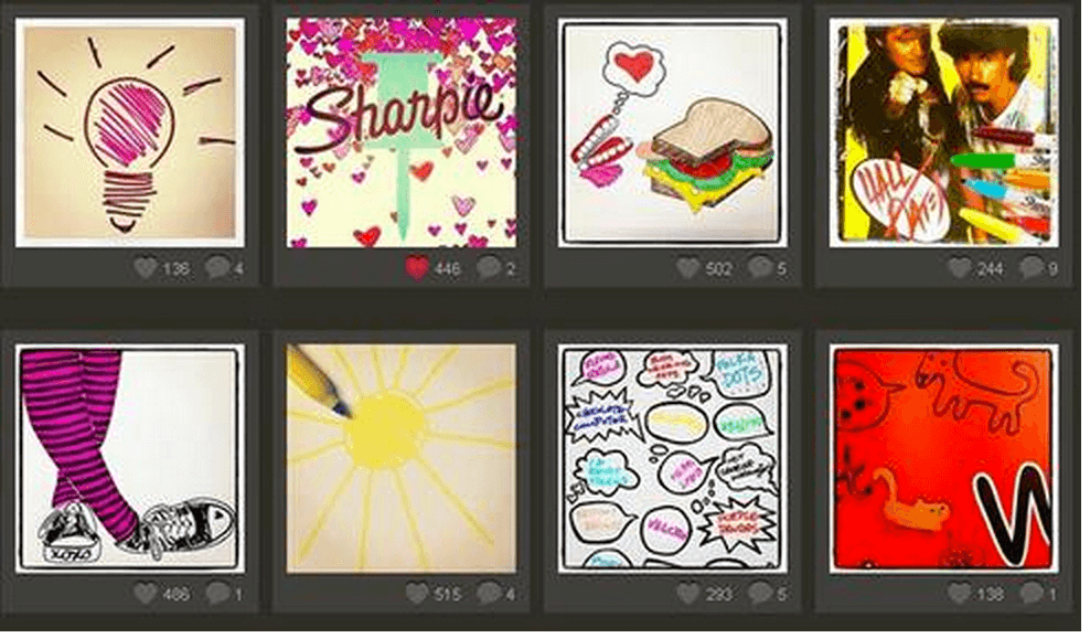 Sharpie encouraged their Twitter followers to share their artwork using the hashtag #Sharpie.
