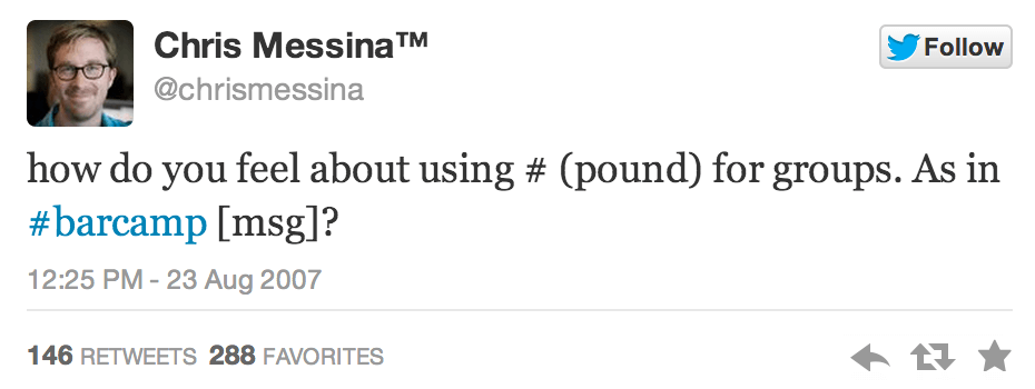 On August 23, 2007 the very first hashtag was used on Twitter.