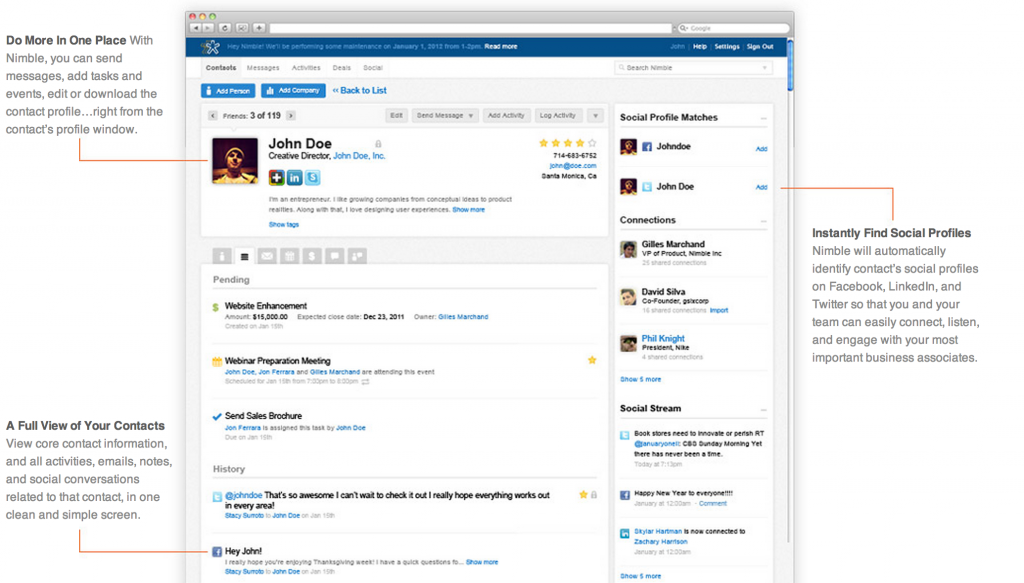 For more screenshots of Nimble's awesome features, click on the image above.