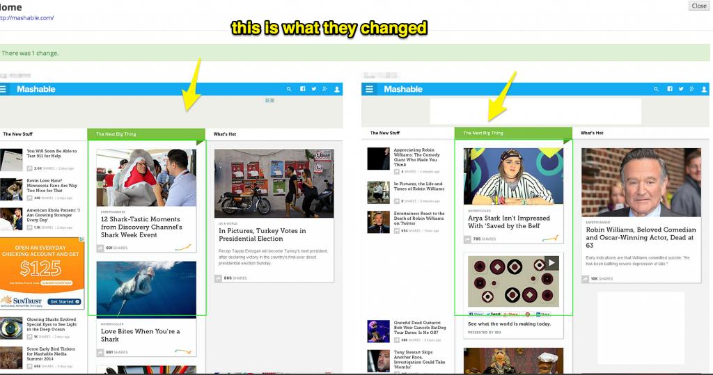 Mashable Website Change Report