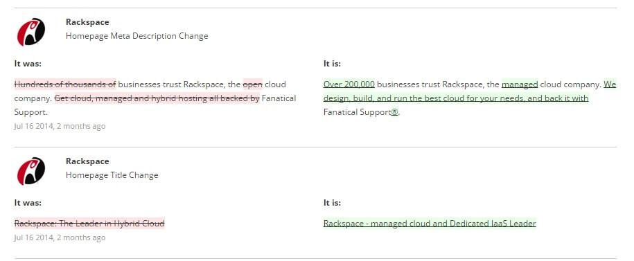 Cloud Rackspace homepage changes