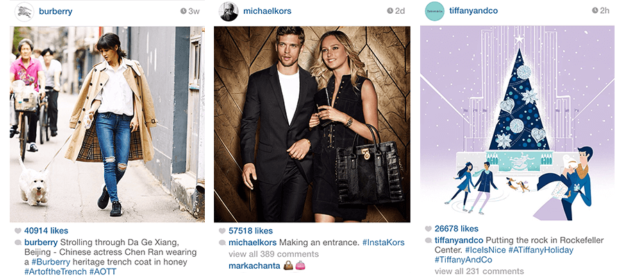 Instagram posts from three different fashion brands (Burberry, Michael Kors, Tiffany and Co.) exhibiting Instagram hashtag best practices.