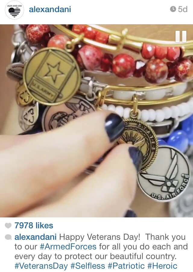 Instagram post from Alex and Ani featuring a charm bracelet with veteran-focused charms.