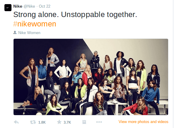 Twitter photo of strong women dressed in Nike clothing