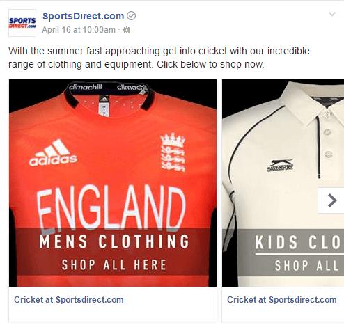 Facebook Carousel Ads Cricket