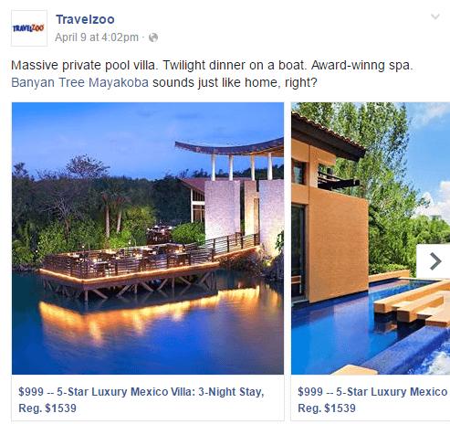 Facebook Carousel Ads Travelzoo