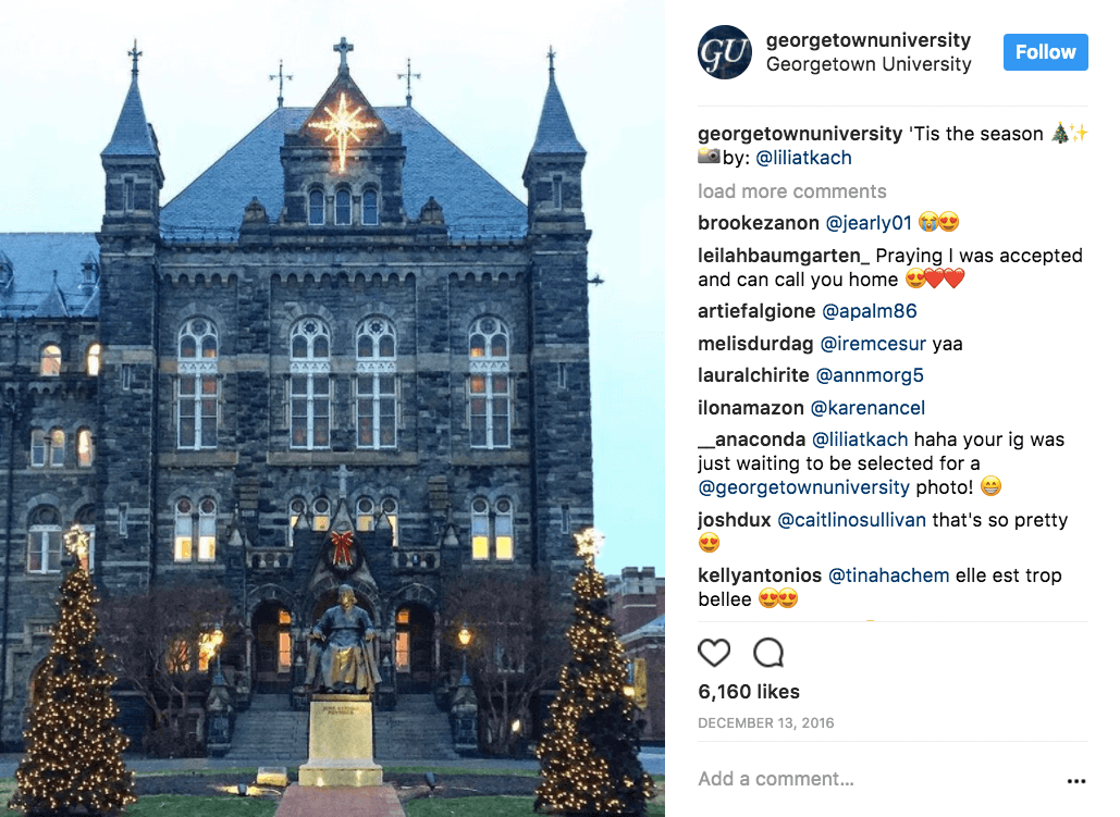 Georgetown University Georgetown marked the holiday period and saw an astonishing 18.4% engagement and nearly 6,200 likes.