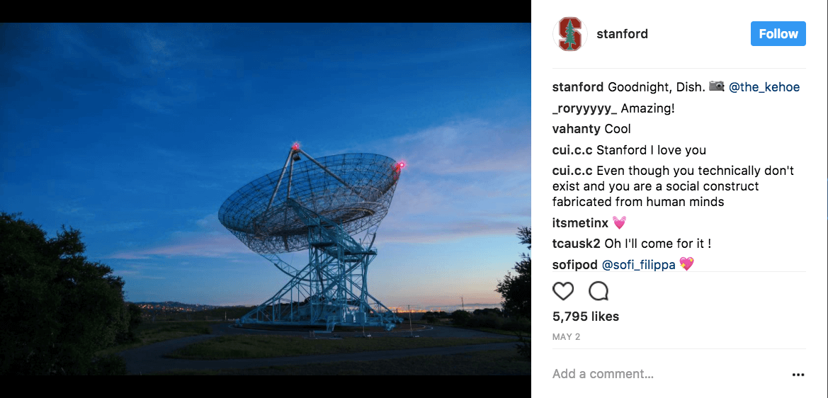 Stanford uses social media to wish goodnight to various locations on campus. The post below-wishing good night to the Dish, a radio telescope-is an example.