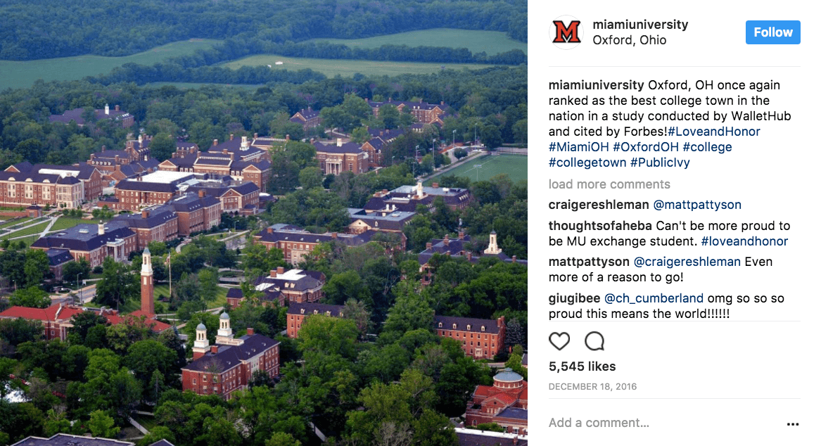 Miami University bragging about being named best college town in the nation