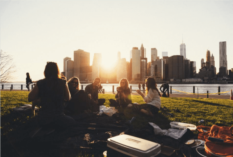 Group of broke, college students sitting in a circle in New York City. Make sure you're specific about who your content is targeting.