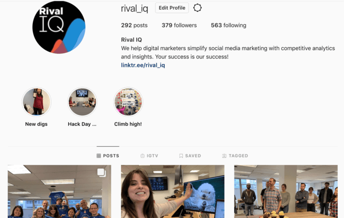 Rival IQ's profile on Instagram. A business account on Instagram is important for fundraising success.