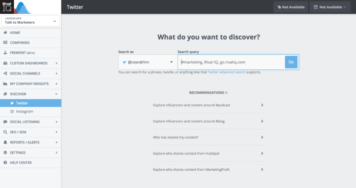Rival IQ's Discover homepage asking about what is is that you want to discover on Twitter and Instagram.