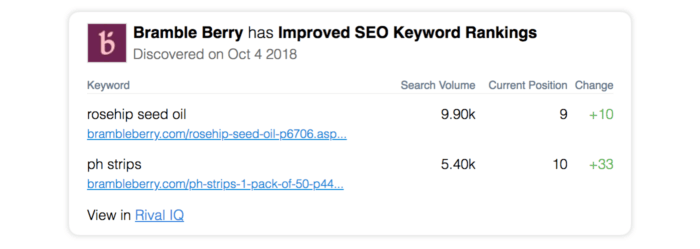 email alert for seo improvements
