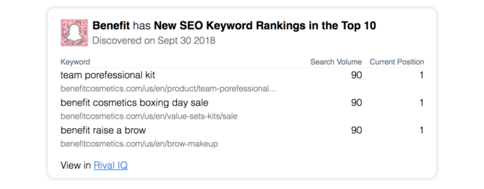 email alert for new seo ranking