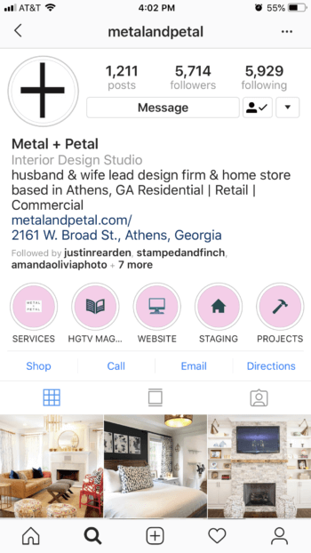 Metal+Petal's current Instagram Stories Highlights