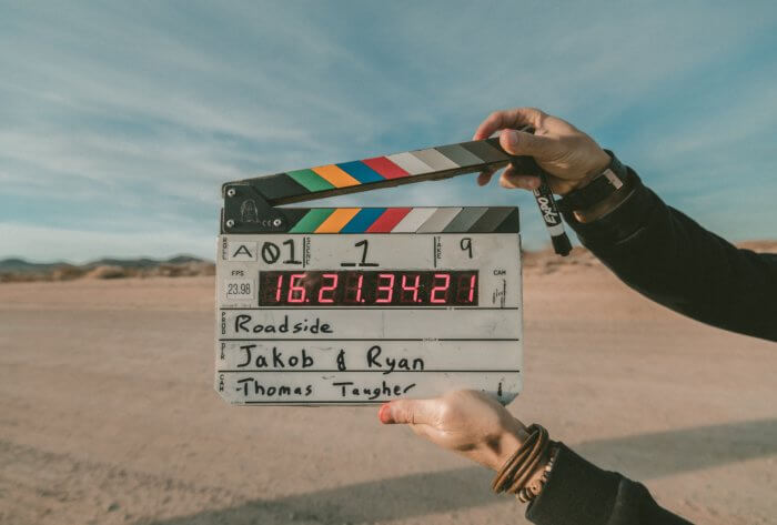 Movie clapper in the desert