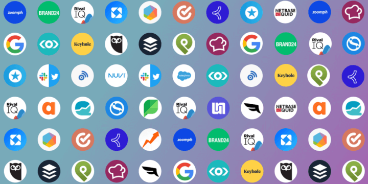 Grid with logos of popular social media management tools