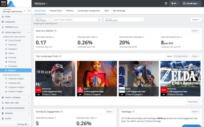 Rival IQ's MySpace analytics dashboard