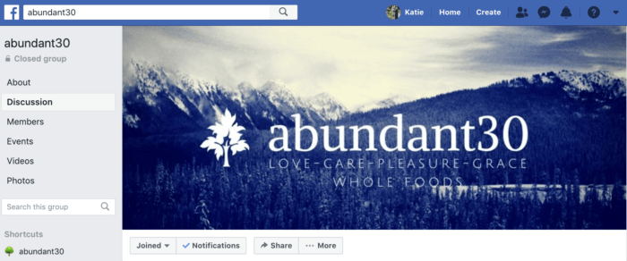 Facebook groups like abundant30 are highly engaging for online communities
