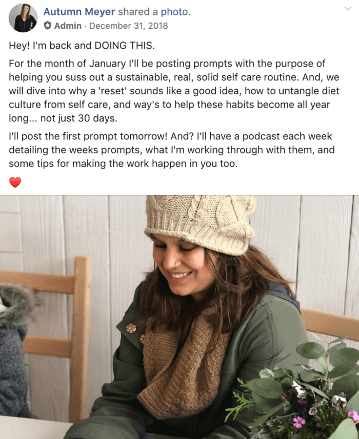 Recent post from Autumn, who runs a Facebook group called abundant30
