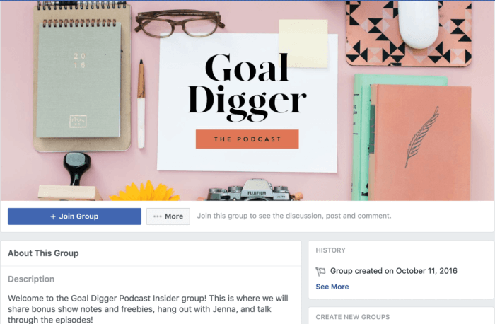 Goal Digger Podcast's Facebook group's cover photo