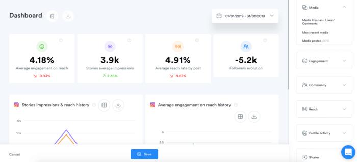 Iconosquare's social media analytics dashboard