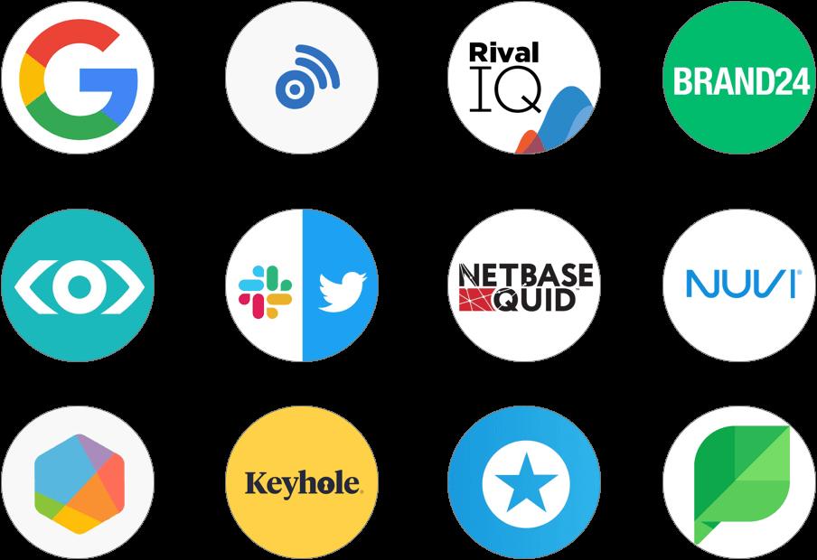 social media listening tools logos Brand24 BrandWatch BuzzSumo Google Alerts Keyhole Meltwater Mention Nuvi Rival IQ Slack+Twitter Sprinklr Sprout Social