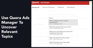 simmonds' slide from MozCon showing an example Quora Ads Manager campaign creation