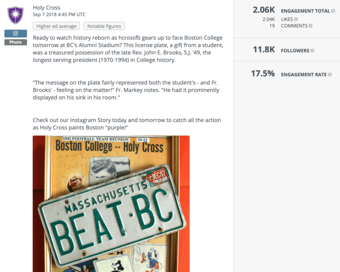 """Holy Cross' higher ed social media post features a license plate that reads """"BEAT BC"""""""