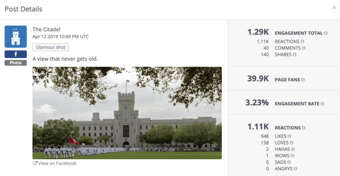 The Citadel posted about the view from its quad.