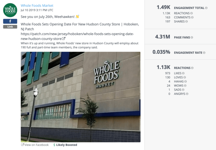 A post about a new Whole Foods in New Jersey.