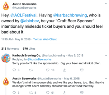 Tweet from Austin Beerworks calling out Austin City Limits for their sponsorship tiers