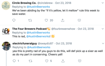 Positive responses to Austin Beerworks' decision to halt production during a water shortage