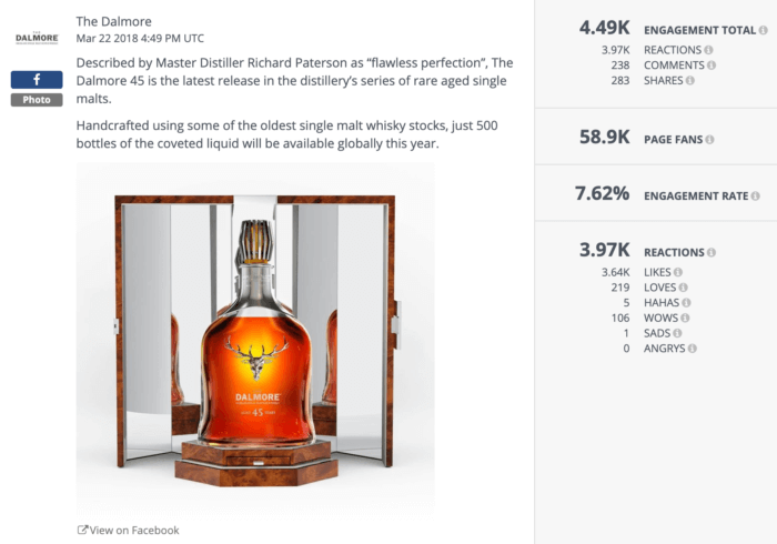 A photo of a new release Dalmore bottle between two mirrors.
