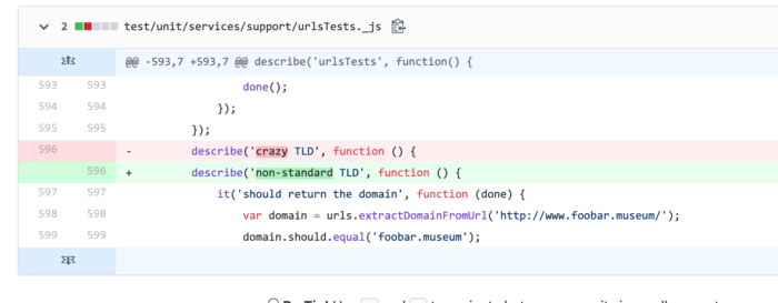 An example of ableist language in our code comments.