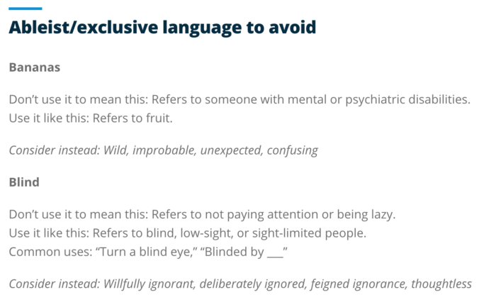 """Examples of ableist/exclusive language to avoid, including """"bananas"""" and """"blind"""""""