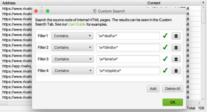 Sample inclusive language audit custom search query in Screaming Frog