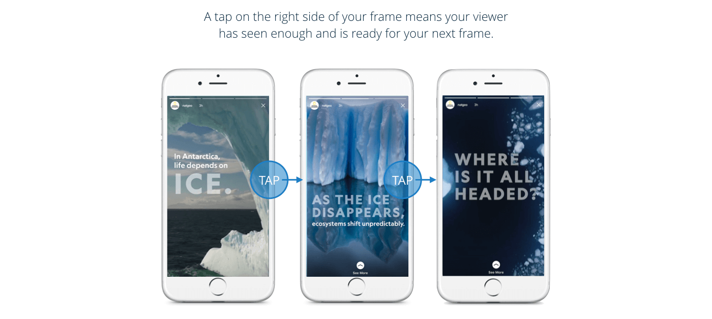Example of tap-forward, where a user clicks on the right side of your Story to skip ahead.