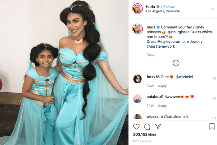 Instagram post of Huda and her daughter dressed as Jasmine from Aladdin