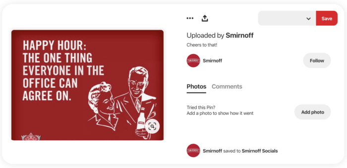 """Pin from Smirnoff featuring a meme that reads """"Happy hour: the one thing everyone in the office can agree on"""""""