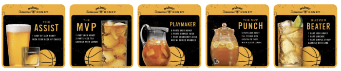 Pinterest marketing coasters from Jack Daniel's featuring cocktail recipes