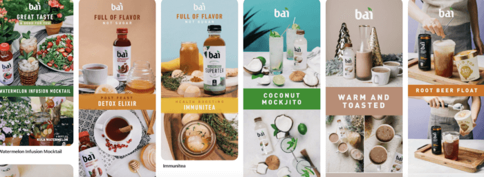 Bai's Pinterest marketing featuring their boards