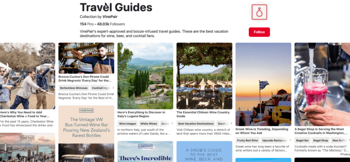 VinePair's Travel Guides are key to their Pinterest Marketing