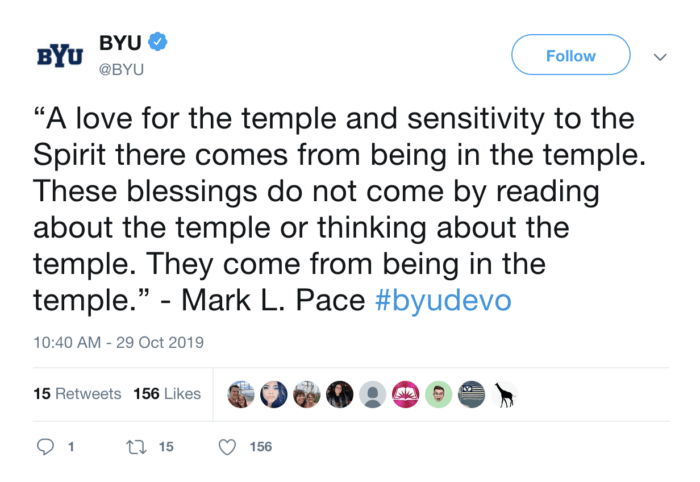 A devotional tweet from Brigham Young University