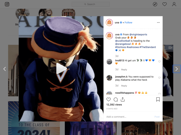 Instagram post from UVA featuring their mascot heading to the Orange Bowl