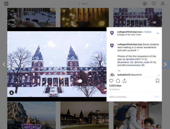 UGC photo from College of the Holy Cross featuring a snowy shot of their campus