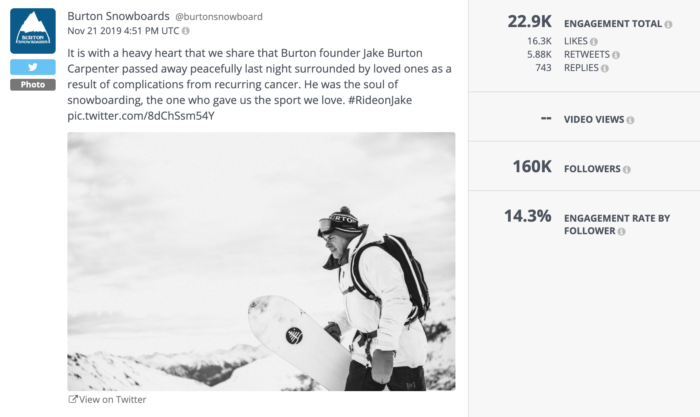 Twitter post from Burton Snowboards featuring a portrait of their founder and an announcement of his passing