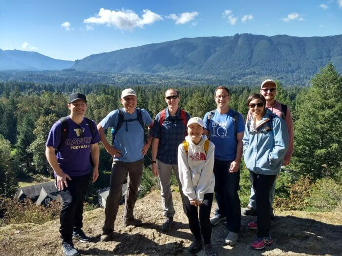 Photo of the Rival IQ team on a sunny hike in Washington State