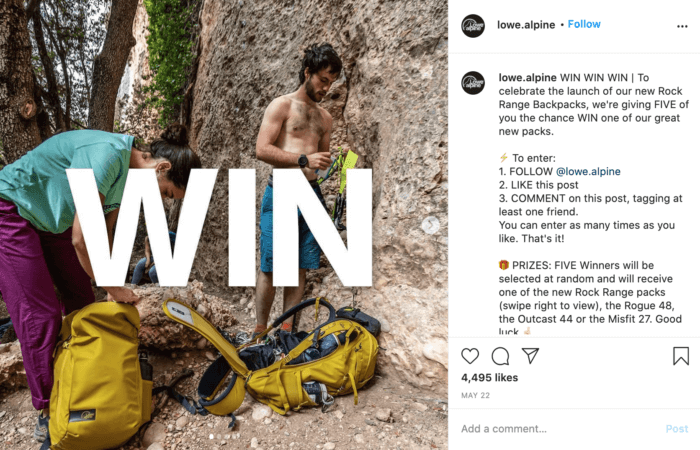Instagram post from Lowe Alpine featuring a contest to win new backpacks