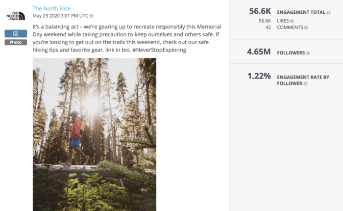 Instagram post from The North Face featuring a man walking over a log in nature